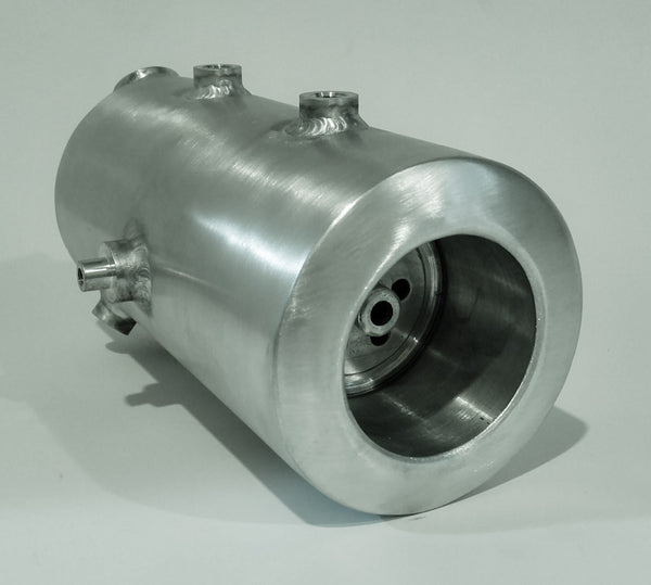 5 Inch round side fill oil tank with spin on filter compartment.