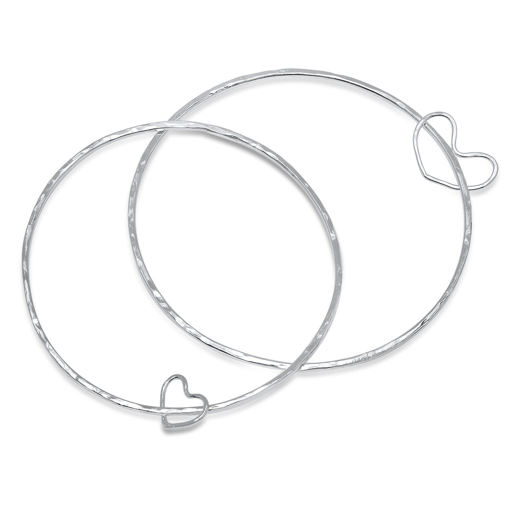 heart bracelet and hallmark gifts bangles silver root accessories twotone sterling bangle in tone jewelry fashion two