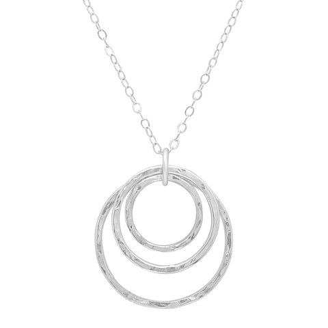 Handmade  Seeing Triple Sterling Silver Hammered Circle Necklace by JYLA Jewelry