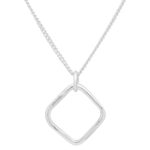 Handmade Sterling Silver Minimal Square Necklace by JYLA Jewelry