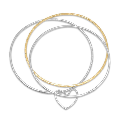 Heart Bangle Bracelet Set