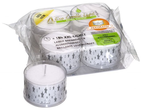 XXL ECO Tea Light - Motive: Stars transp./Silver- Dekorativ - 18 Hours