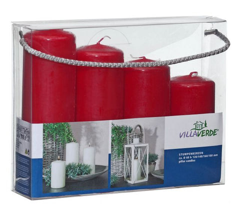Set of 4 Pillar Candles - Red