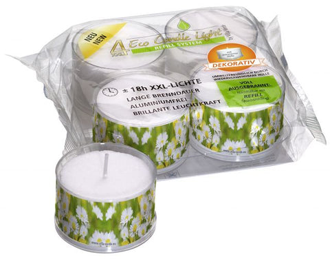 XXL ECO Tea Light - Motive: Daisy- Dekorativ - 18 Hours