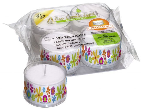 XXL ECO Tea Light - Motive: Pril Flowers- Dekorativ - 18 Hours
