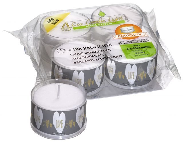 XXL ECO Tea Light - Motive: Love - Dekorativ - 18 Hours - Kimi's Beauty Shop