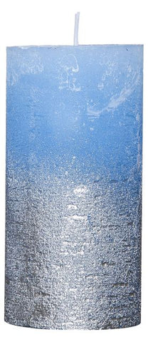 Rustic Candle - Metallic Silver / Blue - 68mm x120mm