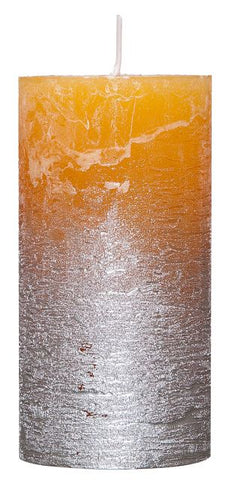Amber Rustic-Candle with Metallic effect Silver - 68mm x 120mm