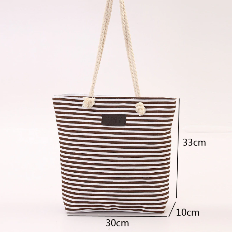 Summer Beach Bag Blue Stripes - Kimi's Beauty Shop