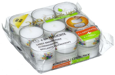 Happy Birthday Tea Lights – Eco Refill System - 9 in a Cup + 9 Refills
