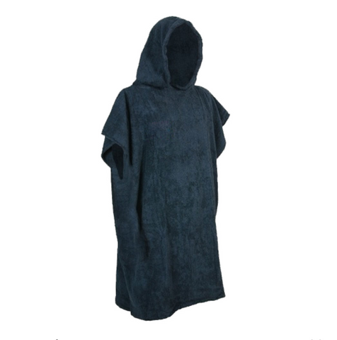 Kids Changing Robe in Navy - Black - Luxury 400gsm - 6 to 8 yrs