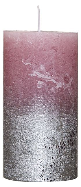 Rustic-Candle with Silver Metallic effect Rose