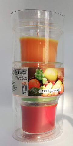 Tropical Mango Scented Candles in Cup, Set of 3 in a Tube