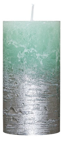 Mint Green Rustic-Candle with Metallic effect Silver - 68mm x 120mm