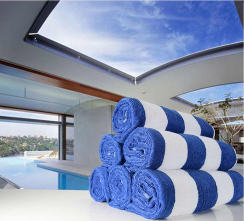 Chlorine Resistant Pool Towels 75cm x 155cm Blue and White