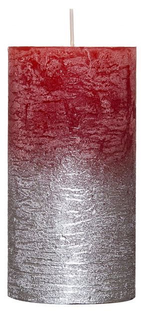 Rustic Candle - Metallic Silver / Red - 68mm x120mm - Kimi's Beauty Shop
