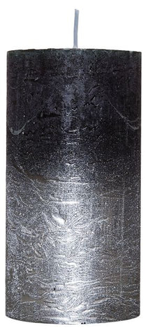 Rustic-Candle with Silver Metallic effect Black