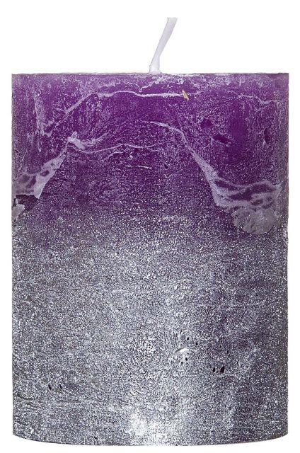 Rustic-Candle with Silver Metallic effect Lilac