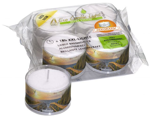 Large Tea Light Candles by the Sea Design in Reusable Cup – Pack of 4