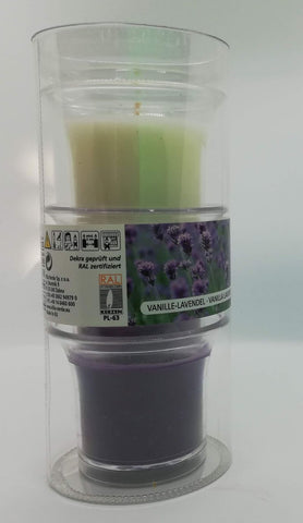 Vanilla - Lavender Scented Candles in Cup, Set of 3 in a Tube