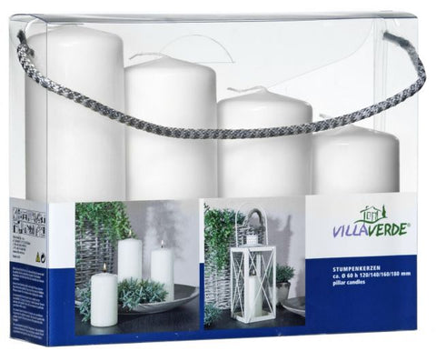 Pillar Candles – Set of 4 - White - Kimi's Beauty Shop