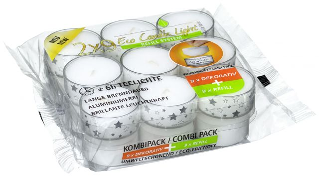 Eco Tea Lights, Pack of 9 Tea Lights in decorative Cup + 9 Refill -  Motive: Stars transp./Silver - Kimi's Beauty Shop