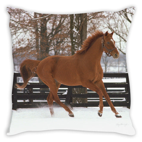 Affirmed in Snow Throw Pillow
