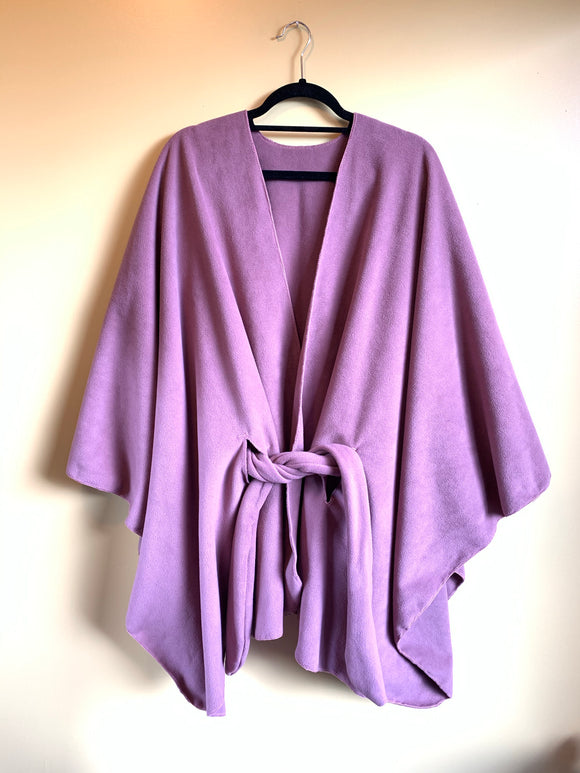 Dusty Pink Fleece Belted Poncho