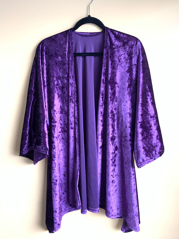 Crushed Purple Velvet Kimono Jacket Mid Length