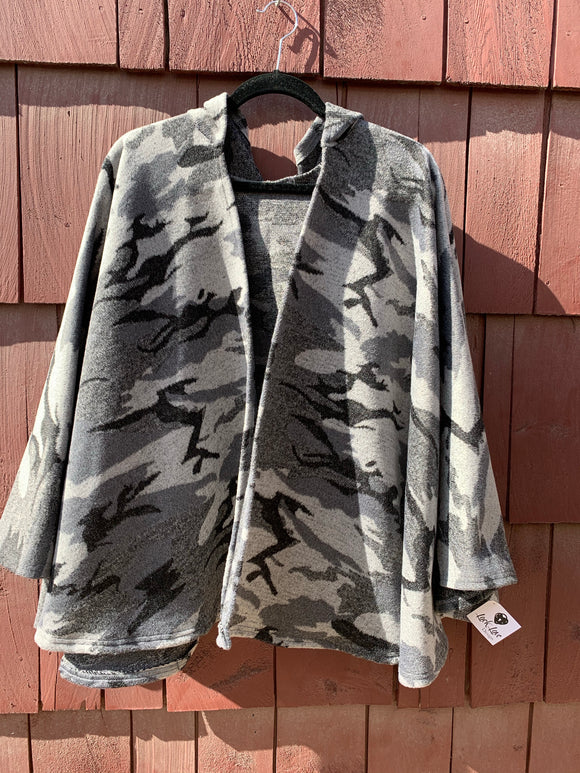 Camo Print Wool Blend Hooded Poncho