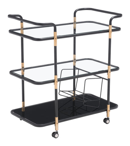 ZUO Secret Serving Kitchen Cart Black & Gold 100191 - Your Kitchen Island - 1