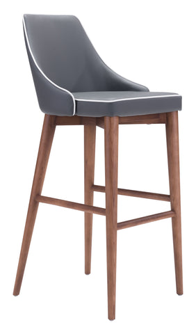ZUO Moor Bar Chair Gray 100282 - Your Kitchen Island - 1