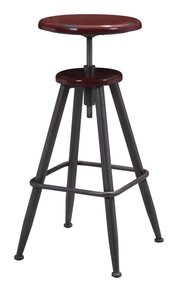 ZUO Bog Bar Stool Distressed Burgundy 100420 - Your Kitchen Island - 1