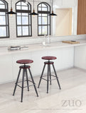 ZUO Bog Bar Stool Distressed Burgundy 100420 - Your Kitchen Island - 2