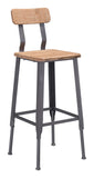 ZUO Clay Bar Chair Natural Pine & Industrial Gray 100421 - Your Kitchen Island - 1