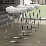 ZUO Wedge Bar Stool White and Chroe- Set of 2 - 300042 - Your Kitchen Island - 3