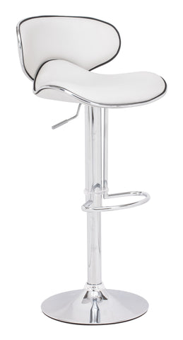 ZUO Fly Bar Stool White and Chrome- 300131 - Your Kitchen Island - 1