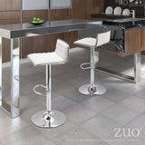 ZUO Equation Bar Stool White and Chrome - 300219 - Your Kitchen Island - 5
