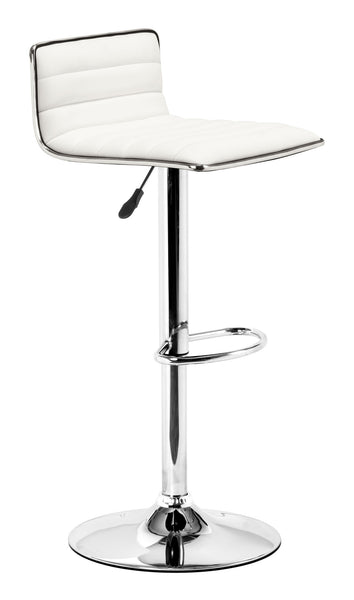 ZUO Equation Bar Stool White and Chrome - 300219 - Your Kitchen Island - 1