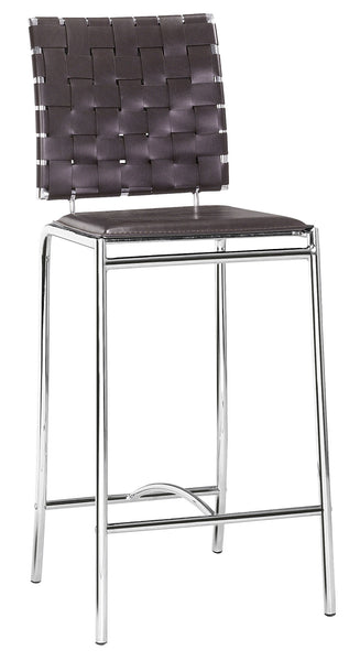 ZUO Criss Cross Counter Chair Espresso and Chrome - Set of 2 - 333060 - Your Kitchen Island - 1