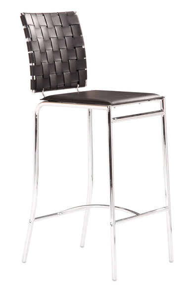 ZUO Criss Cross Counter Chair Black and Chrome - Set of 2 - 333062 - Your Kitchen Island - 1