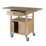 Winsome Wood Natural Double Drop Leaf and Cabinet Kitchen Cart - Your Kitchen Island - 4