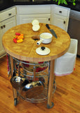 Chris & Chris Stainless Pro Stadium Round Kitchen Cart/Work Station - Your Kitchen Island - 4