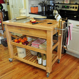 Chris & Chris Natural Pro Chef Series Work Station - Kitchen Cart - Your Kitchen Island - 3