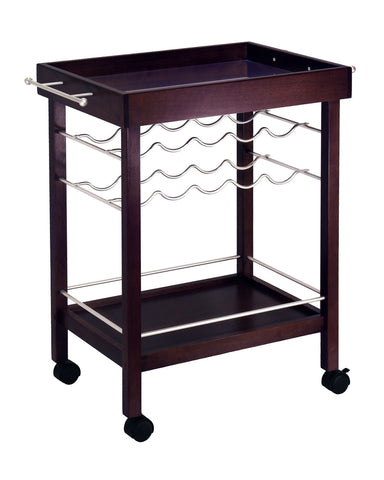 Winsome Wood Espresso Mirror Top & wine rack Kitchen Cart - Your Kitchen Island - 1