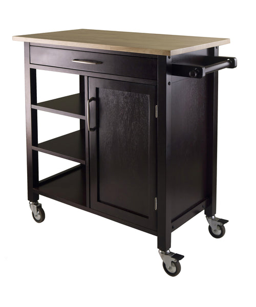 Winsome Wood Natural & Espresso Mali Two-Tone Kitchen Cart - Your Kitchen Island - 1