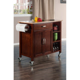 Winsome Wood Walnut & Natural Mabel Kitchen Cart - Your Kitchen Island - 5