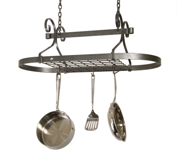 Enclume Hammered Steel Scrolled Oval Pot Rack DR1 - Your Kitchen Island - 1
