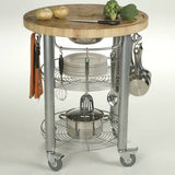 Chris & Chris Stainless Pro Stadium Round Kitchen Cart/Work Station - Your Kitchen Island - 3