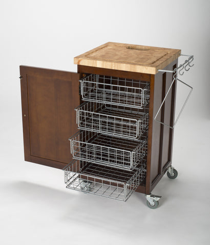 Chris & Chris Espresso Pantry Fold Up Prep Station - Kitchen Cart - Your Kitchen Island - 1